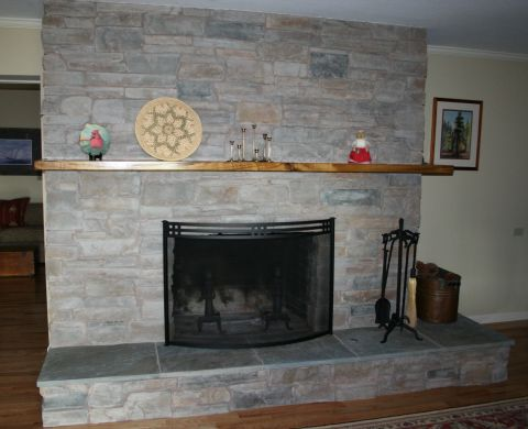Fireplace Refaced with Manufactured Stone
