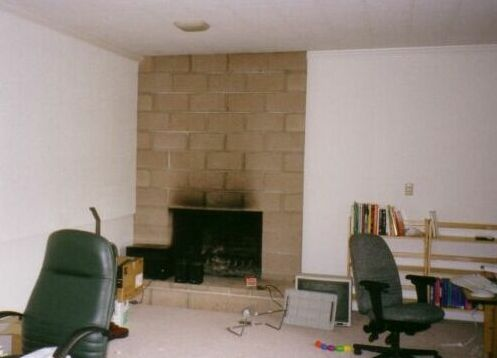 Cinder Block Fireplace Before