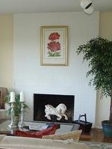 Painted Brick Fireplace Before