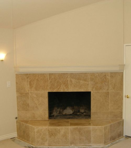 Brick Fireplace Refaced with Tile