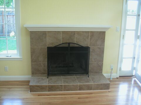 Brick Fireplace Remodeled with Italian Tile